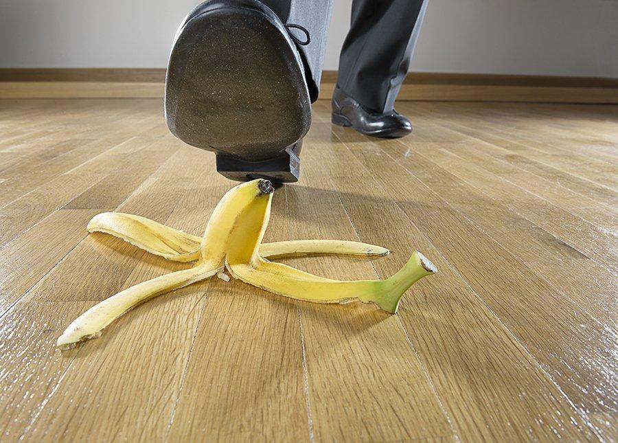 Man to step on banana peel