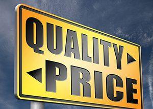 quality versus price sign