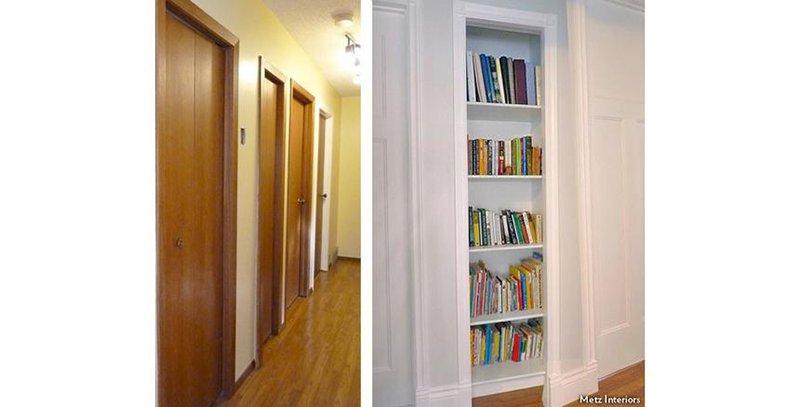 closet turned into a bookcase