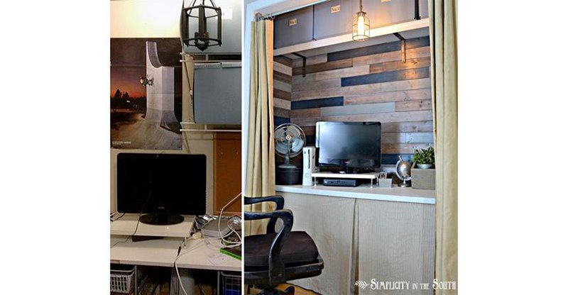 office nook built into a closet